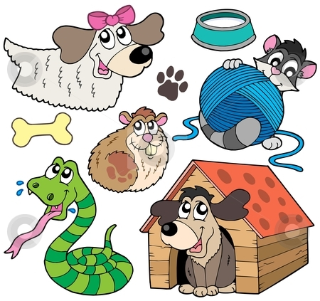 Pet collection 2 stock vector clipart, Pet collection 2 on white background - vector illustration. by Klara Viskova