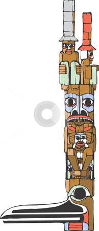 Totem pole  stock vector clipart, A totem pole in the style of Northwest Coast native cultures. by Jeffrey Thompson