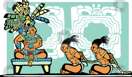 Mayan King and Prisoners stock vector clipart, Mayan King on throne looks over war prisoners. by Jeffrey Thompson