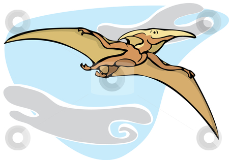 Pterodactyl stock vector clipart, Pterodactyl dinosaur flying overhead in isolated image. by Jeffrey Thompson
