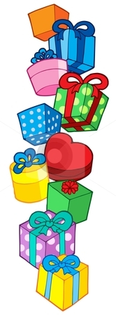 Pile of Christmas gifts stock vector clipart, Pile of Christmas gifts - vector illustration. by Klara Viskova