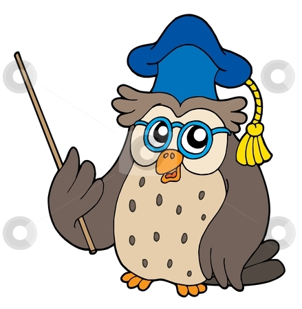 Owl teacher vector illustration stock vector clipart, Owl teacher with pointer - vector illustration. by Klara Viskova