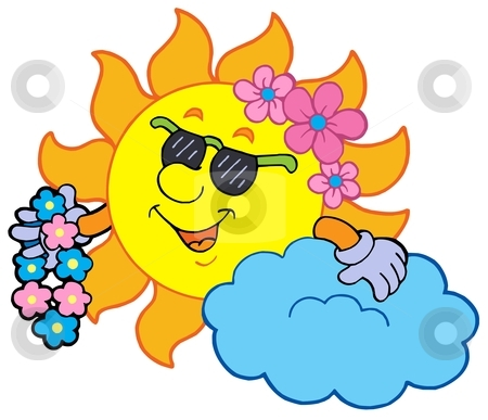 Hawaiian sun stock vector clipart, Hawaiian sun on white background - vector illustration. by Klara Viskova
