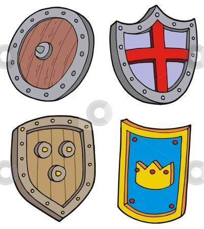 Shield collection stock vector clipart, Shield collection - vector illustation. by Klara Viskova
