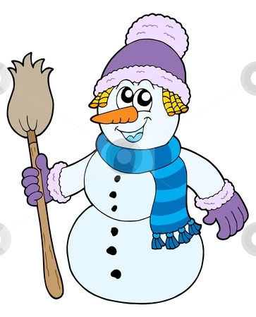 Snowman with broom stock vector clipart, Snowman with broom - vector illustration. by Klara Viskova