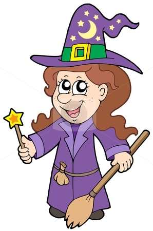 Cute wizard girl stock vector clipart, Cute wizard girl - vector illustration. by Klara Viskova