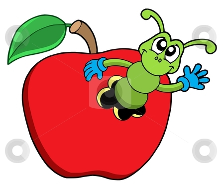 Cute Worm In Apple Stock Vector