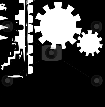 Abstract Gear Background 1 stock vector clipart, Modern style background with gears and african patterning. by Jeffrey Thompson