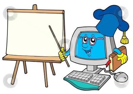 Computer teacher with table stock vector clipart, Computer teacher with table - vector illustration. by Klara Viskova