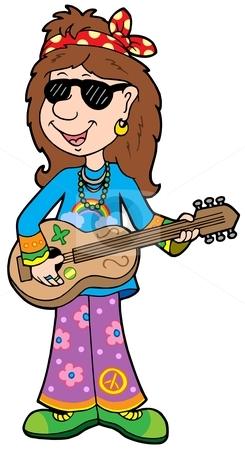 Cartoon hippie musician stock vector clipart, Cartoon hippie musician - vector illustration. by Klara Viskova