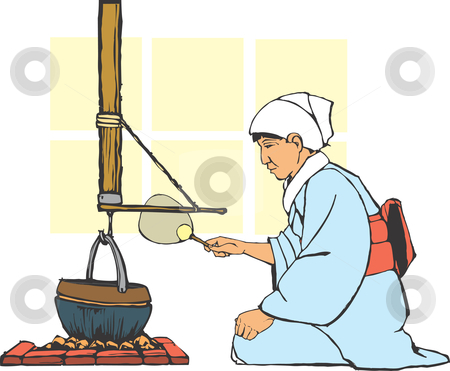Traditional Japanese Hearth stock vector clipart, Traditional japanese farm hearth being tended by a woman in culturally correct costume. by Jeffrey Thompson
