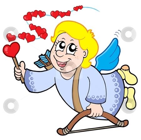 Flying cupid with magic wand stock vector clipart, Flying cupid with magic wand - vector illustration. by Klara Viskova