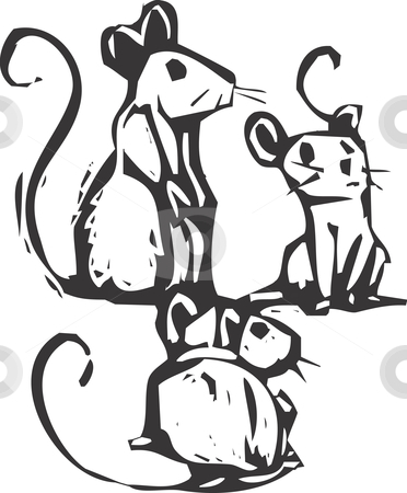 Three Mice stock vector clipart, Three mice sitting together listening for something. by Jeffrey Thompson