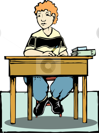Boy sitting at desk stock vector clipart, Boy sitting at a desk listening with books and pencil. by Jeffrey Thompson