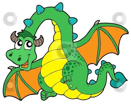 Flying green dragon stock vector clipart, Flying green dragon - vector illustration. by Klara Viskova