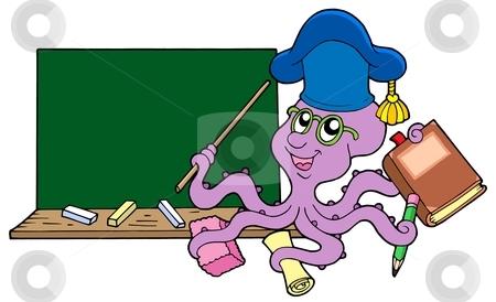 Octopus teacher with blackboard stock vector clipart, Octopus teacher with blackboard - vector illustration. by Klara Viskova