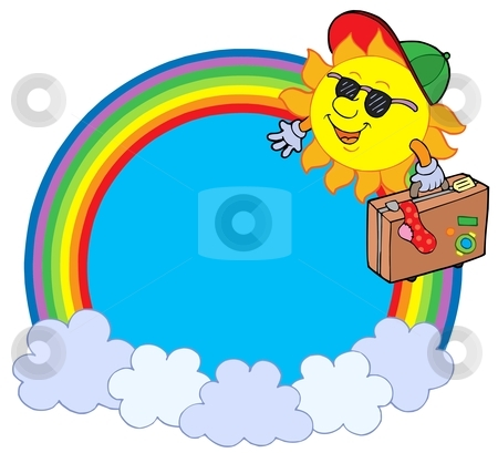 Rainbow circle with sun traveller   stock vector clipart, Rainbow circle with sun traveller - vector illustration. by Klara Viskova