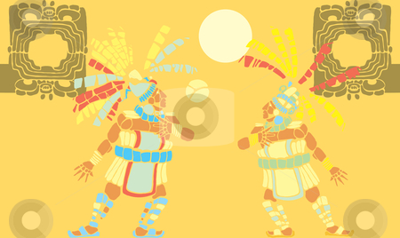 Mayan Ballgame stock vector clipart, Mayan Ballplayer in ball court designed after Mesoamerican Pottery and Temple Images. by Jeffrey Thompson