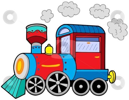 Steam locomotive stock vector clipart, Steam locomotive on white background - vector illustration. by Klara Viskova