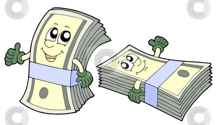 Bank of cute banknotes stock vector clipart, Pair of cute banknotes - vector illustration. by Klara Viskova