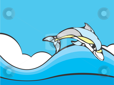 Dolphin stock vector clipart, Common Dolphin leaping in the ocean rendered in a simplistic style. by Jeffrey Thompson