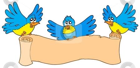 Three birds with parchment stock vector clipart, Three birds with parchment - vector illustration. by Klara Viskova