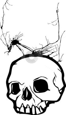 Weed Skull stock vector clipart, Skull with weeds growing from its cranium. by Jeffrey Thompson