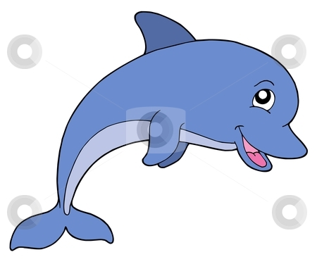Smiling dolphine stock vector clipart, Smiling dolphine on white background - vector illustration. by Klara Viskova