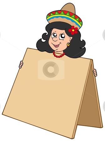 Cute Mexican girl with table stock vector clipart, Cute Mexican girl with table - vector illustration. by Klara Viskova