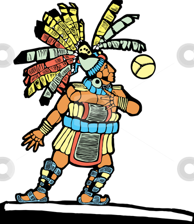Mayan Ballplayer stock vector clipart, Mayan Ballplayer designed after Mesoamerican Pottery and Temple Images. by Jeffrey Thompson
