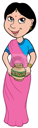 Asian girl in sari stock vector clipart, Asian girl in sari - vector illustration. by Klara Viskova