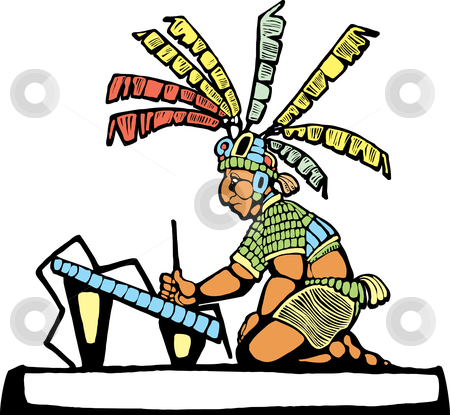 Mayan Scribe  stock vector clipart, Mayan Scribe designed after Mesoamerican Pottery and Temple Images. by Jeffrey Thompson