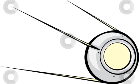 Sputnik Satellite stock vector clipart, Retro Russian Satellite with window for text or image. by Jeffrey Thompson