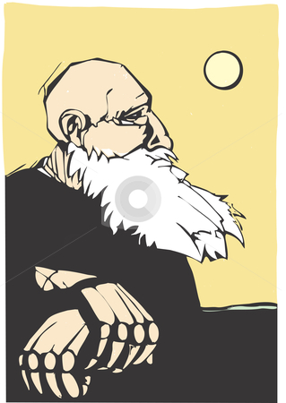 Old man stock vector clipart, An old man looks over the land and thinks about the past. by Jeffrey Thompson
