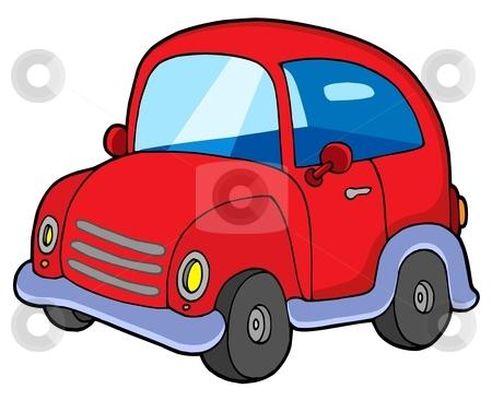 Cute red car stock vector clipart, Cute red car - vector illustration. by Klara Viskova