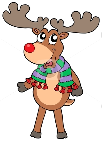 Cute standing Christmas elk stock vector clipart, Cute standing Christmas elk - vector illustration. by Klara Viskova