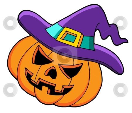 Halloween pumpkin in hat stock vector clipart, Halloween pumpkin in hat - vector illustration. by Klara Viskova
