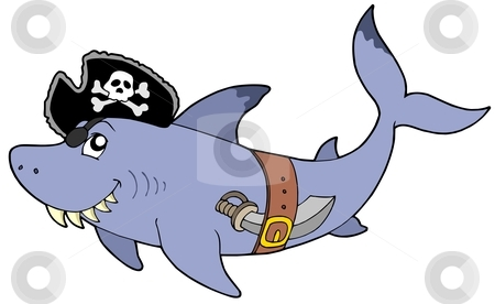 Cartoon pirate shark stock vector clipart, Cartoon pirate shark - vector illustration. by Klara Viskova