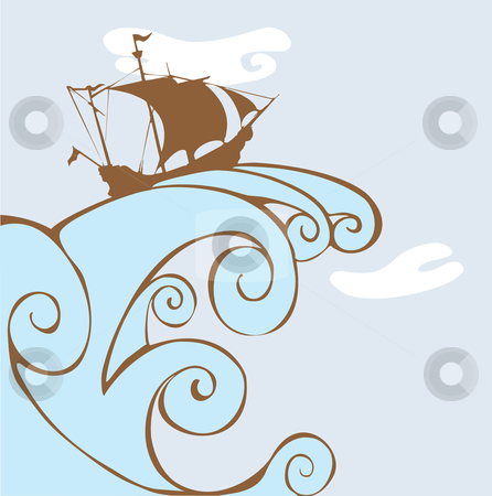 Riding the Wave stock vector clipart, Pirate ship rides a huge wave over the ocean. by Jeffrey Thompson