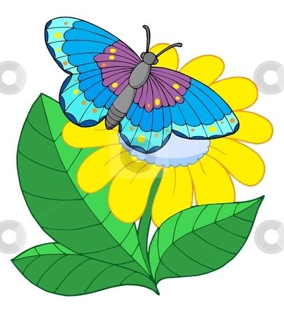 Butterfly on yellow flower stock vector clipart, Butterfly on yellow flower - vector illustration. by Klara Viskova