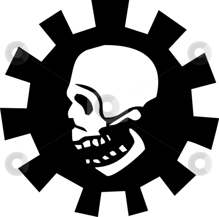 Gear Skull stock vector clipart, Side view of a skull in a mechanical gear. by Jeffrey Thompson