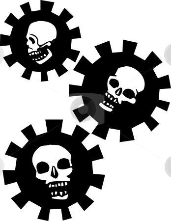 Gear Skulls stock vector clipart, Three Skulls in Mechanical Gears. by Jeffrey Thompson