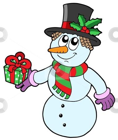 Cute snowman with gift stock vector clipart, Cute snowman with gift - vector illustration. by Klara Viskova