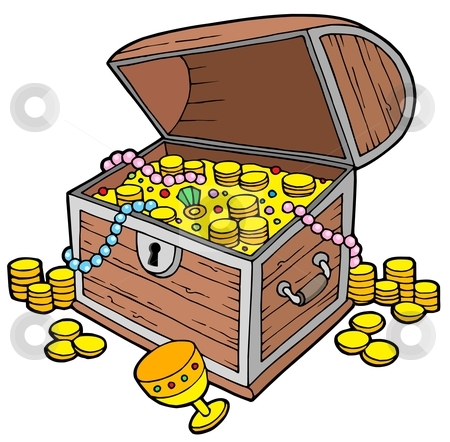Open treasure chest stock vector clipart, Open treasure chest - vector illustration. by Klara Viskova