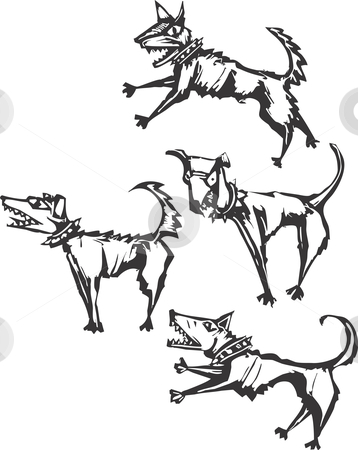 Four Dogs stock vector clipart, Four angry scary dogs rendered in a scratch board style. by Jeffrey Thompson