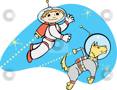 Jet Boy and Dog stock vector clipart, Retro boy in jet pack flies through space with his dog. by Jeffrey Thompson