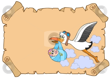 Baby congratulation with stork stock vector clipart, Baby congratulation with stork - vector illustration. by Klara Viskova