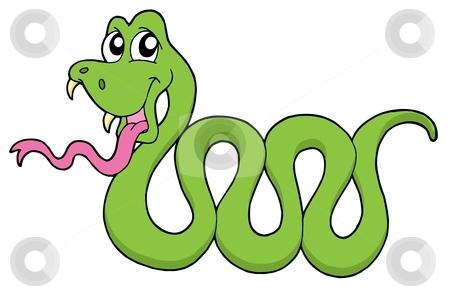 Cute snake vector illustration stock vector clipart, Cute snake on white background - vector illustration. by Klara Viskova