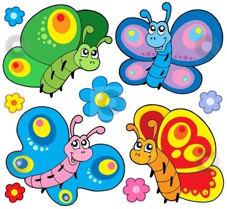 Cute butterflies collection stock vector clipart, Cute butterflies collection - vector illustration. by Klara Viskova