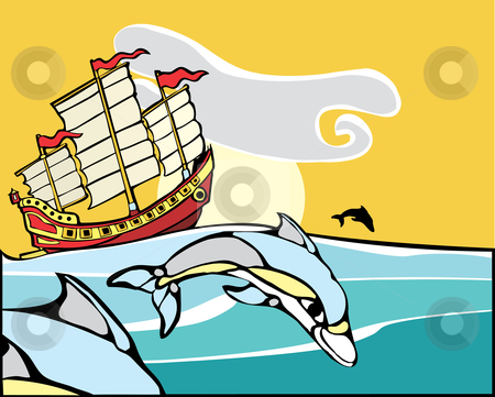 Chinese Junk with dolphins. stock vector clipart, Chinese Junk sailing with a pod of dolphins nearby. by Jeffrey Thompson